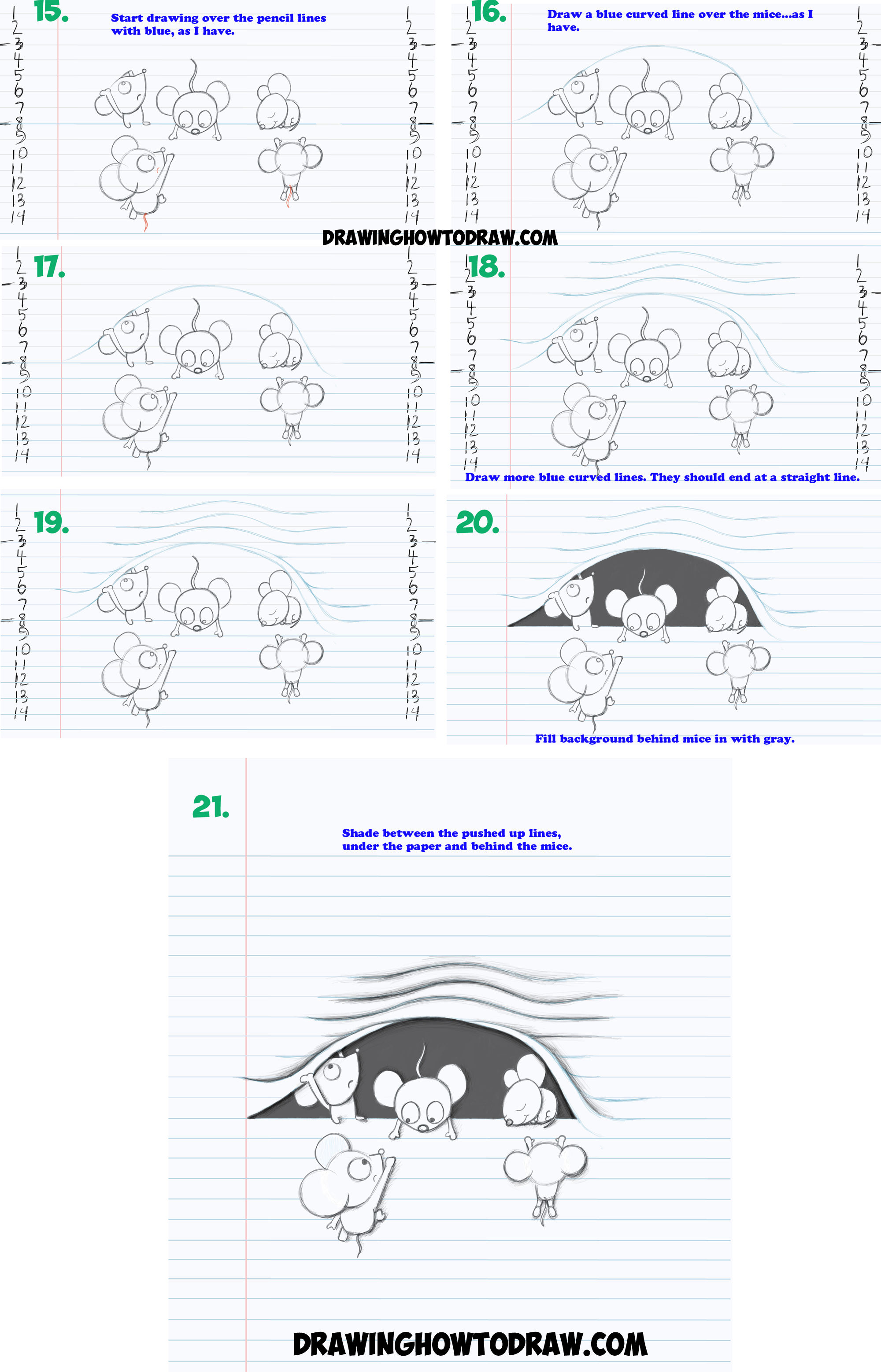 Learn How to Draw Optical Illusion of Cartoon Mice Characters Climbing Inside of Lined Notebook Paper with Simple Steps Drawing Lesson for Children and Beginners