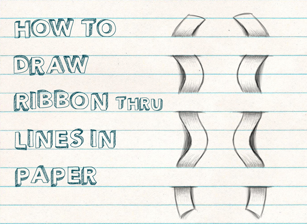 How To Draw Optical Illusion For Kids   Draw A Ribbon Woven Through  Notebook Lined Paper   Easy Step By Step Drawing Tutorial For Beginners    How To Draw ...  Lined Paper With Drawing Box