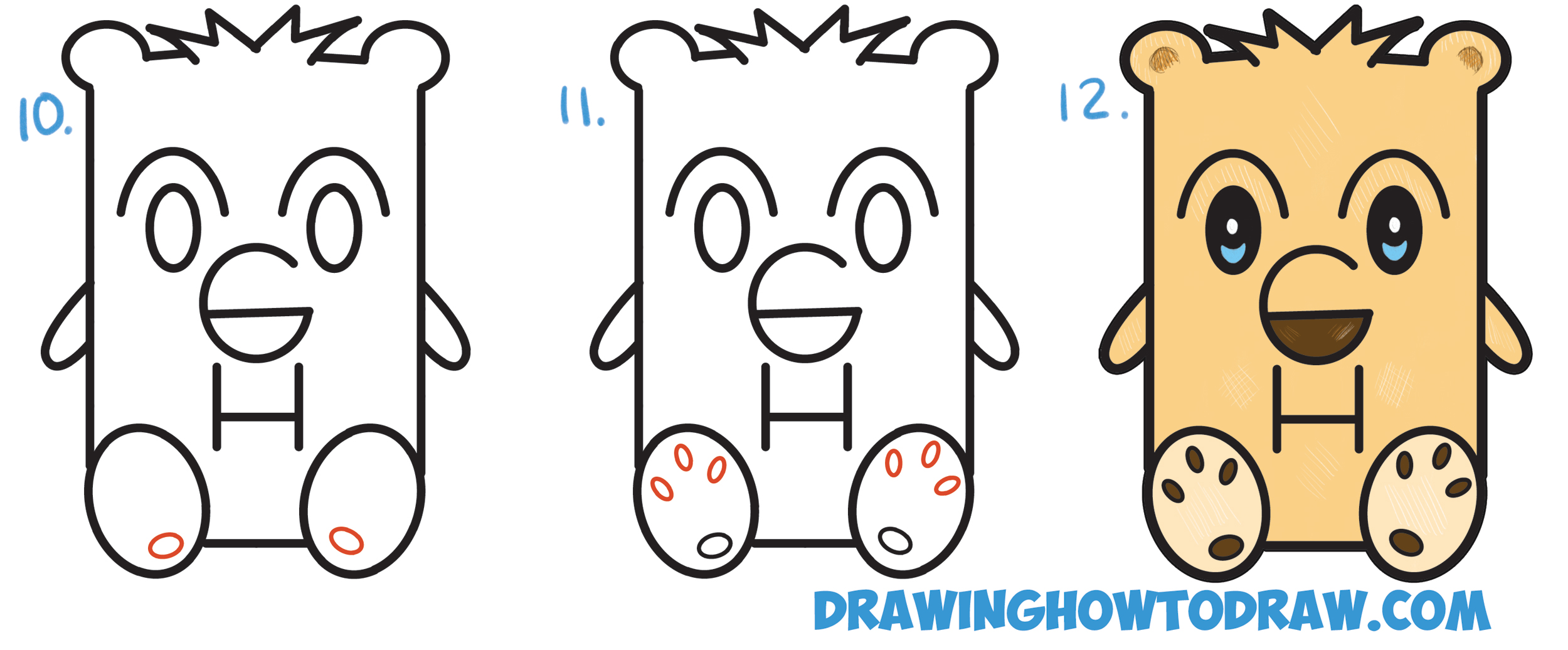 "Learn How to Draw a Cartoon Bear from Letters ""GH"" Simple Steps Drawing Lesson for Children and Beginners"
