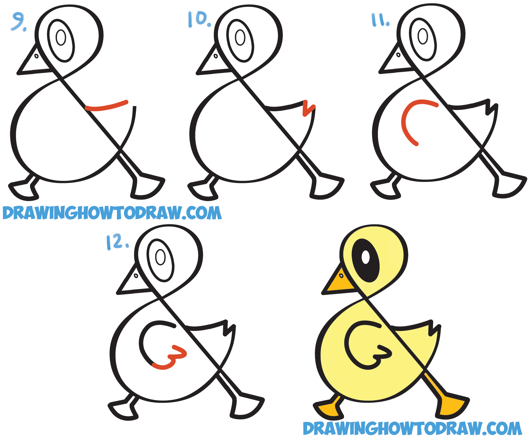 Learn How to Draw a Cute Cartoon Duck from Ampersand Symbol, Letters + Numbers - Simple Steps Drawing Lesson for Children and Beginners