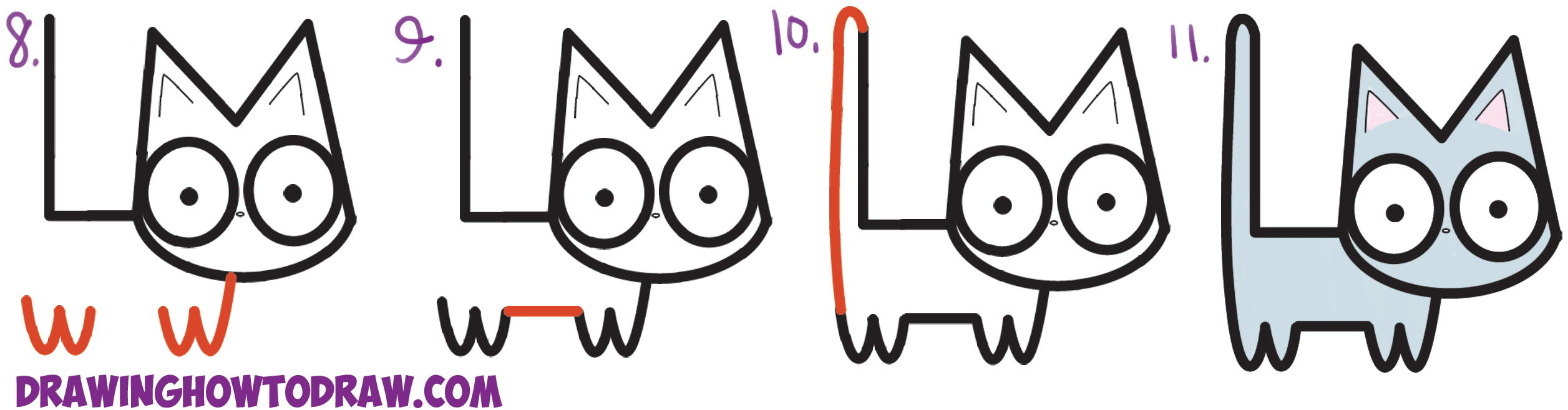 Learn How to Draw a Cute CartoonKawaii Cat from Alphabet Letters L + M Simple Steps Drawing Lesson for Children