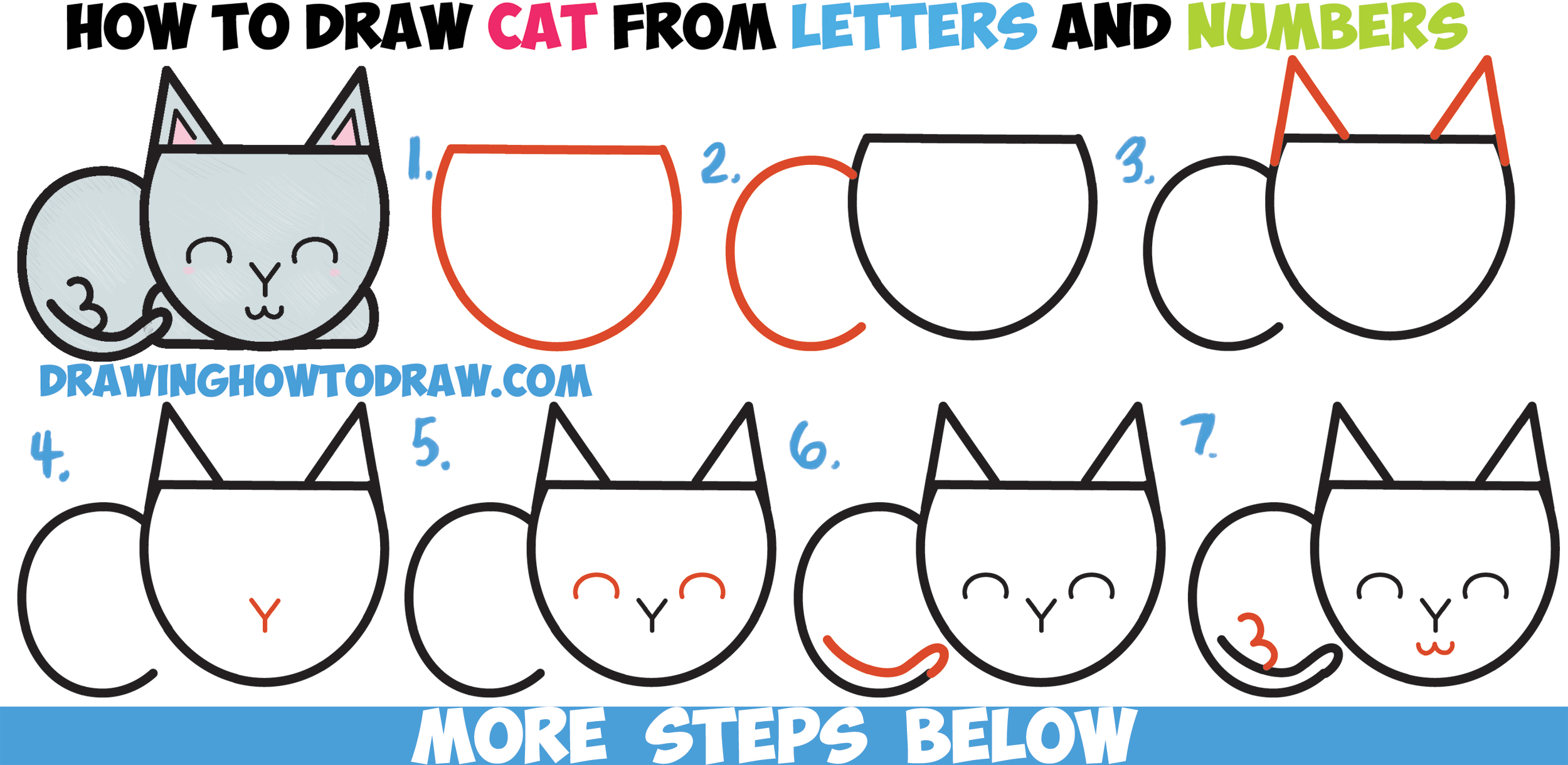 How to Draw a Cute Cartoon Cat Completely from Letters, Numbers, & Shapes Easy Step by Step Drawing Tutorial for Kids