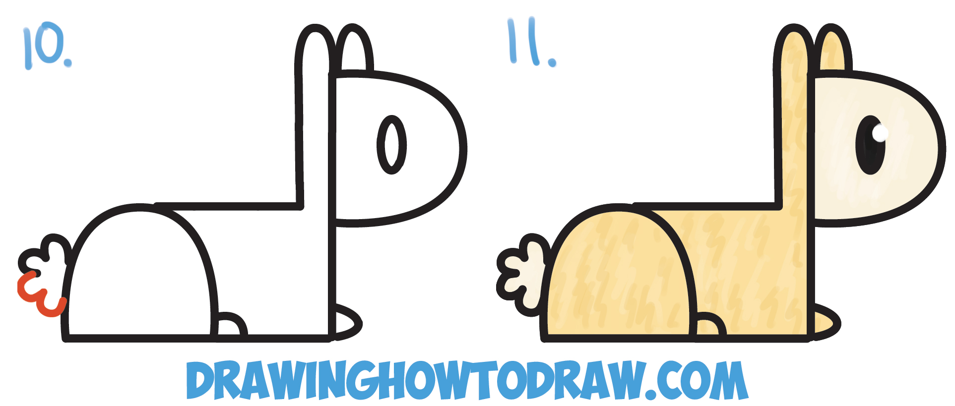 """Learn How to Draw Cute Cartoon Kawaii Llama from """"P"""" Letters Simple Steps Drawing Lesson for Children and Beginners"""