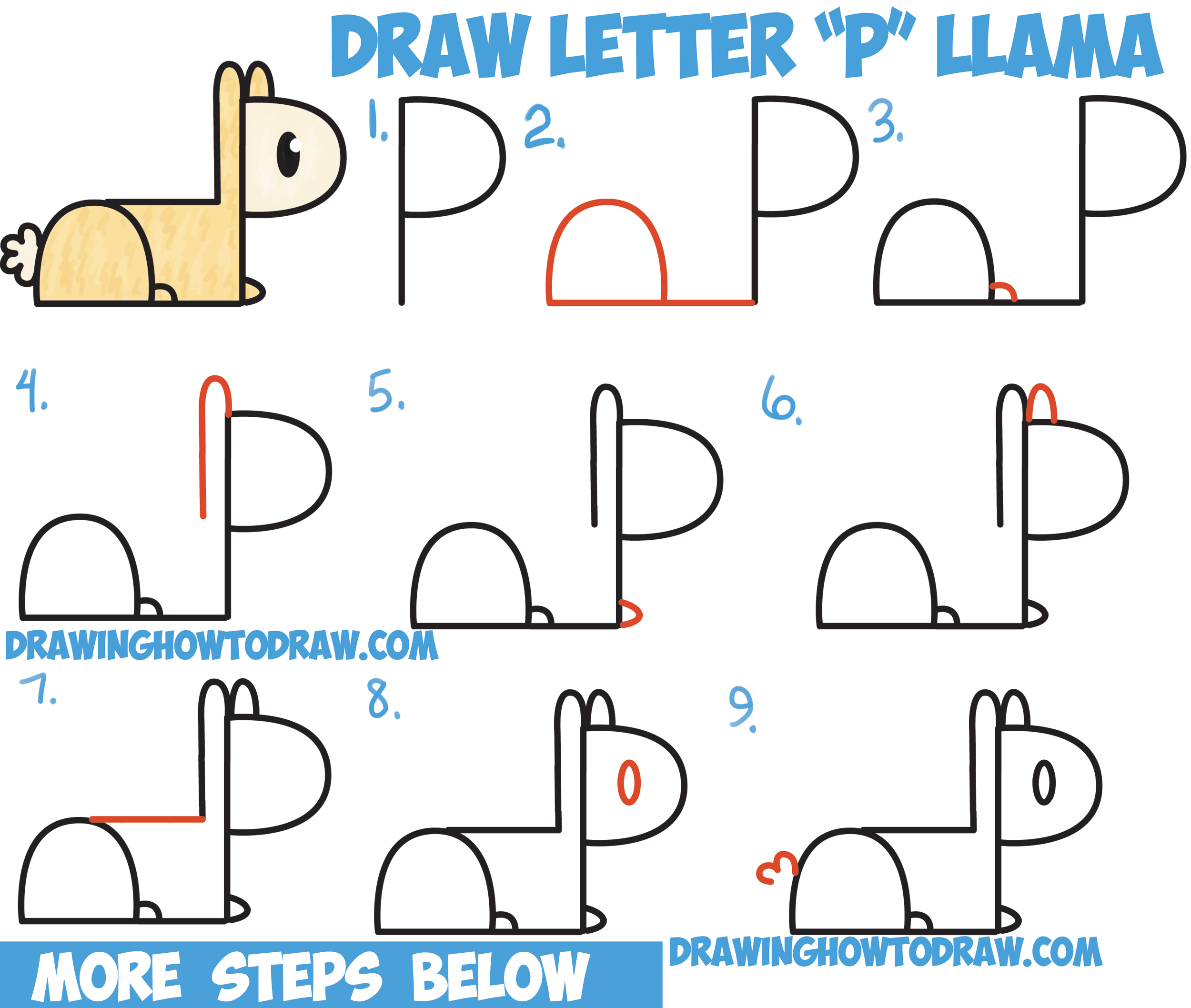 "How to Draw Cute Cartoon Kawaii Llama from ""P"" Letters Easy Step by Step Drawing Tutorial for Kids"