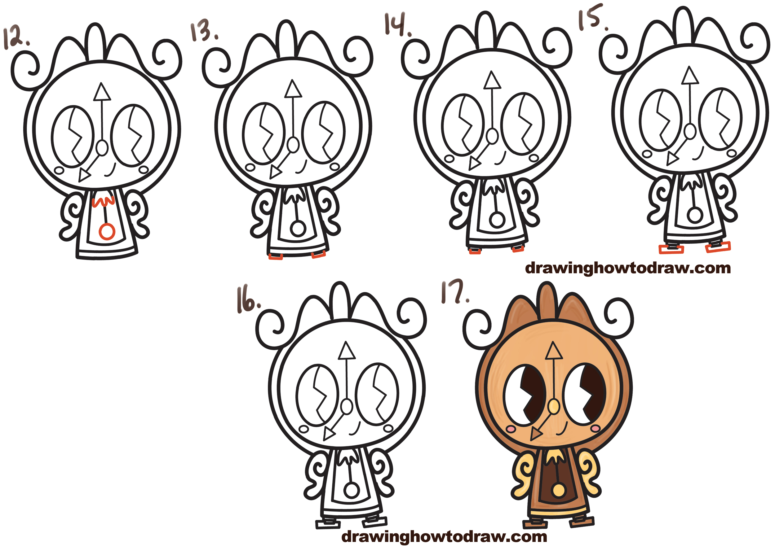 Learn How To Draw Cute Kawaii Chibi Cogsworth The Clock From Beauty And Beast Simple