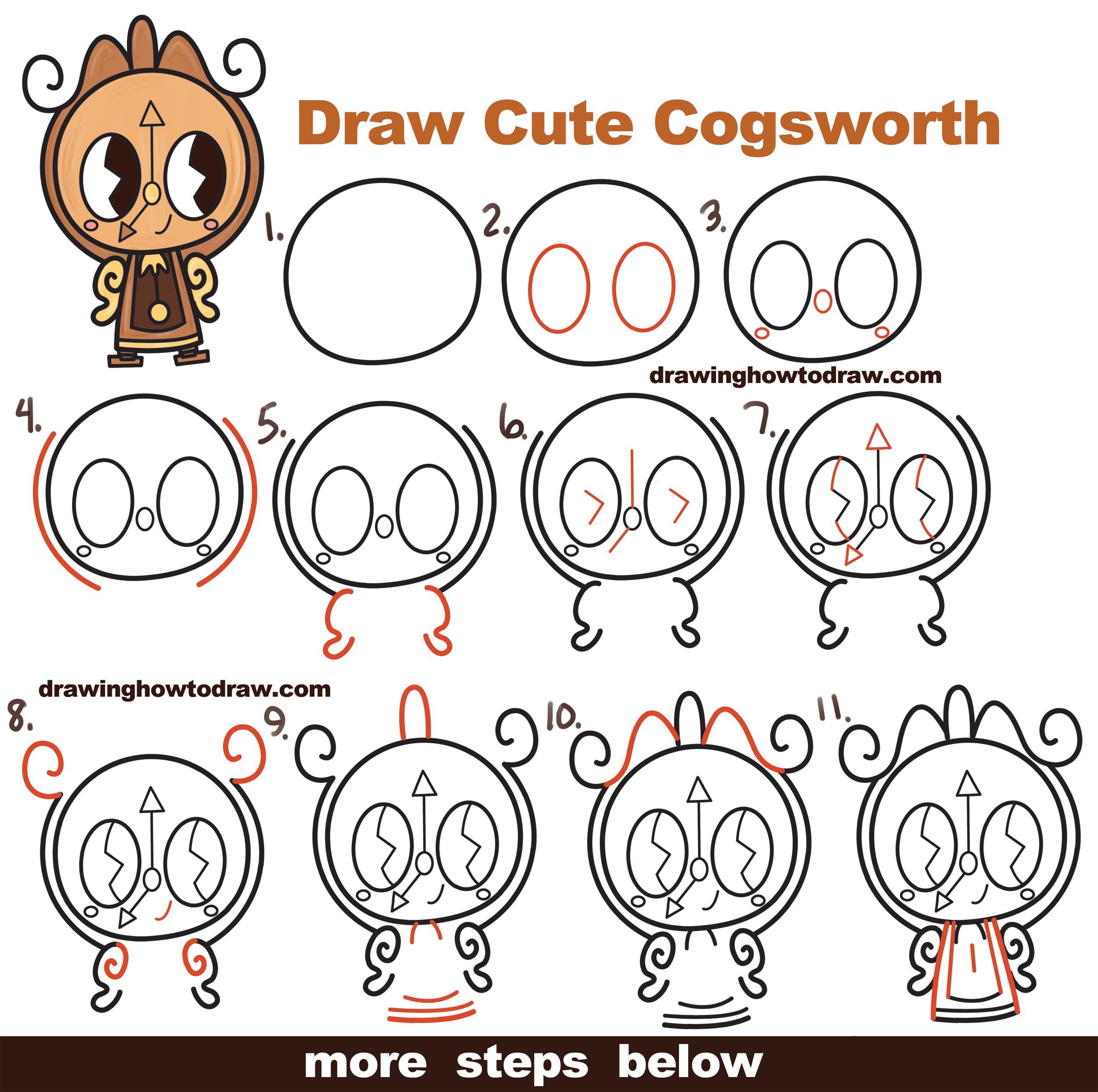How To Draw Cute Kawaii Chibi Cogsworth The Clock From Beauty And Beast Easy Step