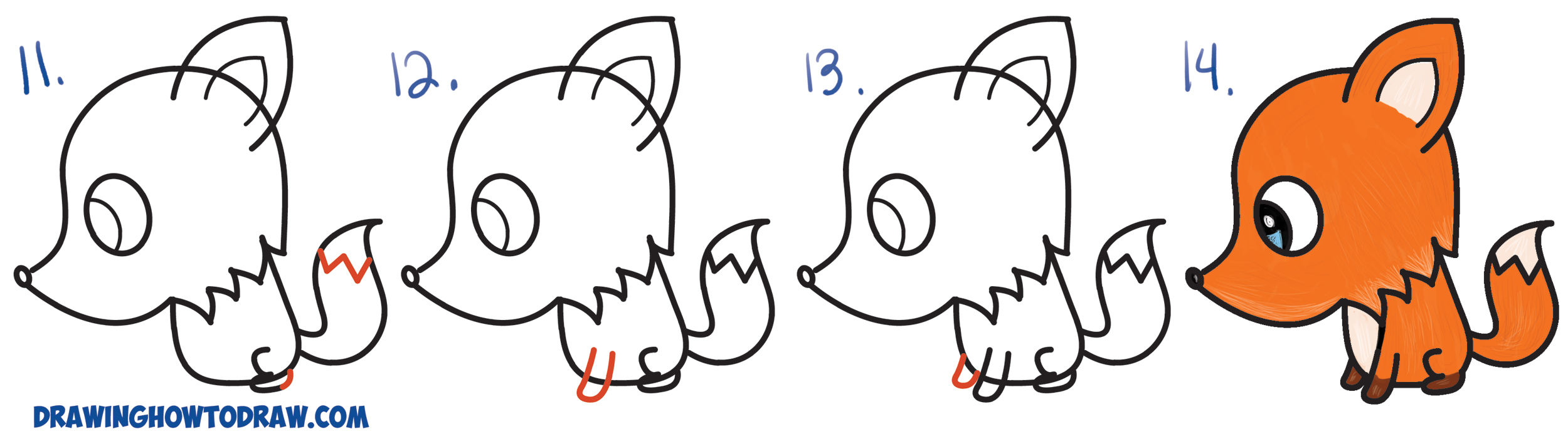 Learn How to Draw a Cute Cartoon Fox from a Question Mark (Kawaii / Chibi) Simple Steps Drawing Lesson for Beginners and Children