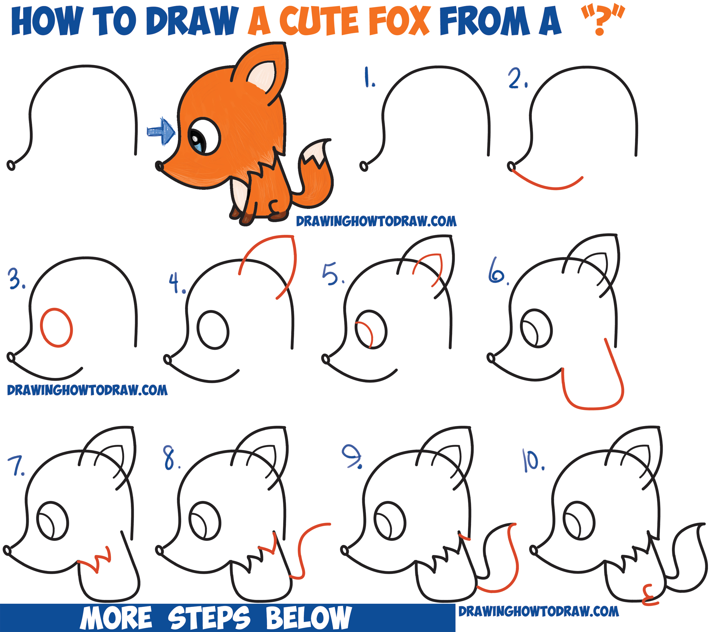 how to draw a cute cartoon fox from a question mark kawaii chibi