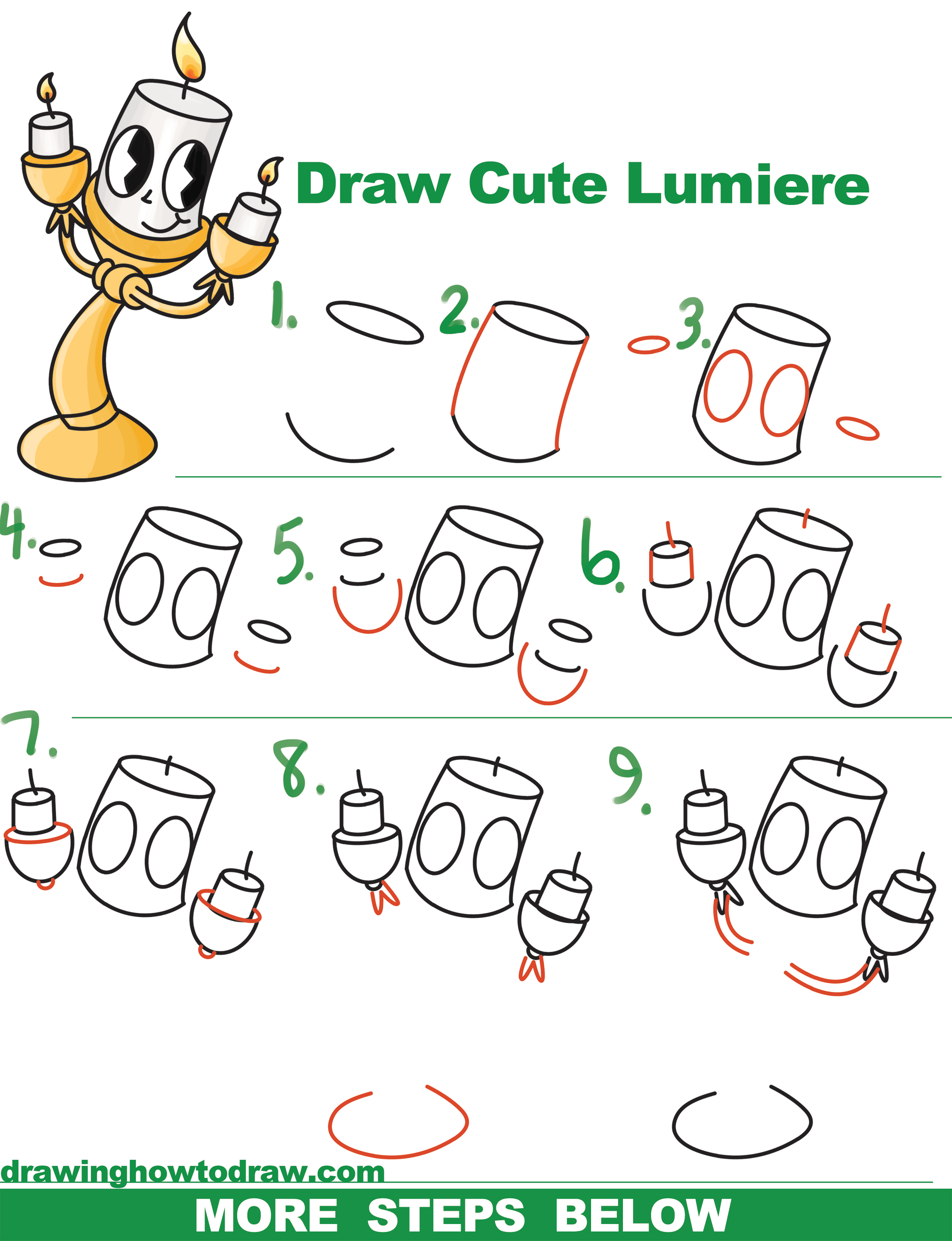 How to draw lumiere cute kawaii chibi from beauty and for Drawing ideas for beginners step by step