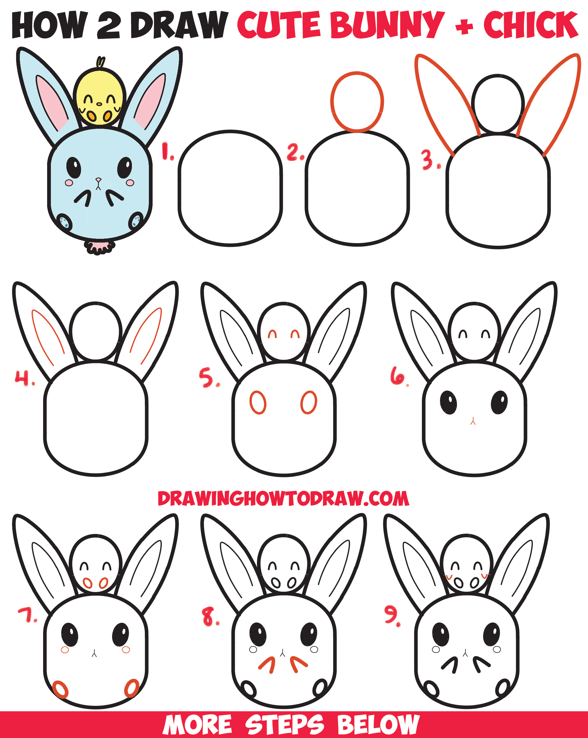 How to Draw Cute Kawaii / Chibi Bunny Rabbit and Baby Chick Easy Step by Step Drawing Tutorial for Kids for Easter and Spring