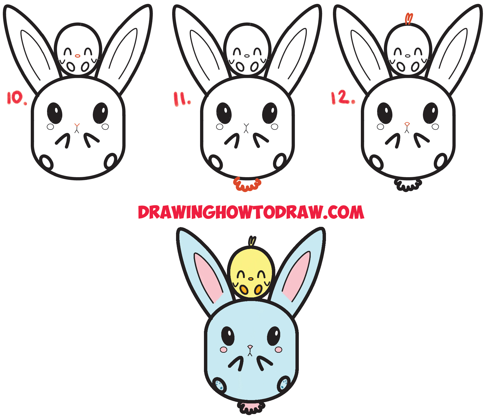 Learn How to Draw Cute Kawaii / Chibi Bunny Rabbit and Baby Chick Simple Steps Drawing Lesson for Children for Easter and Spring