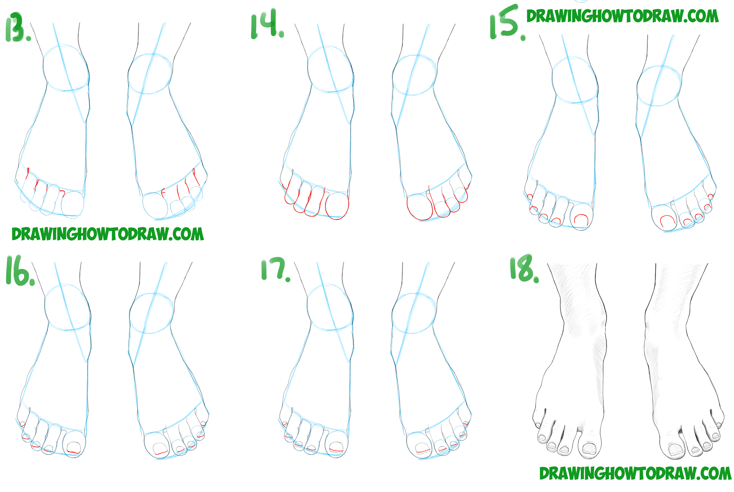 Learn How to Draw Feet / the Human Foot with Simple Steps Drawing Lesson for Beginners