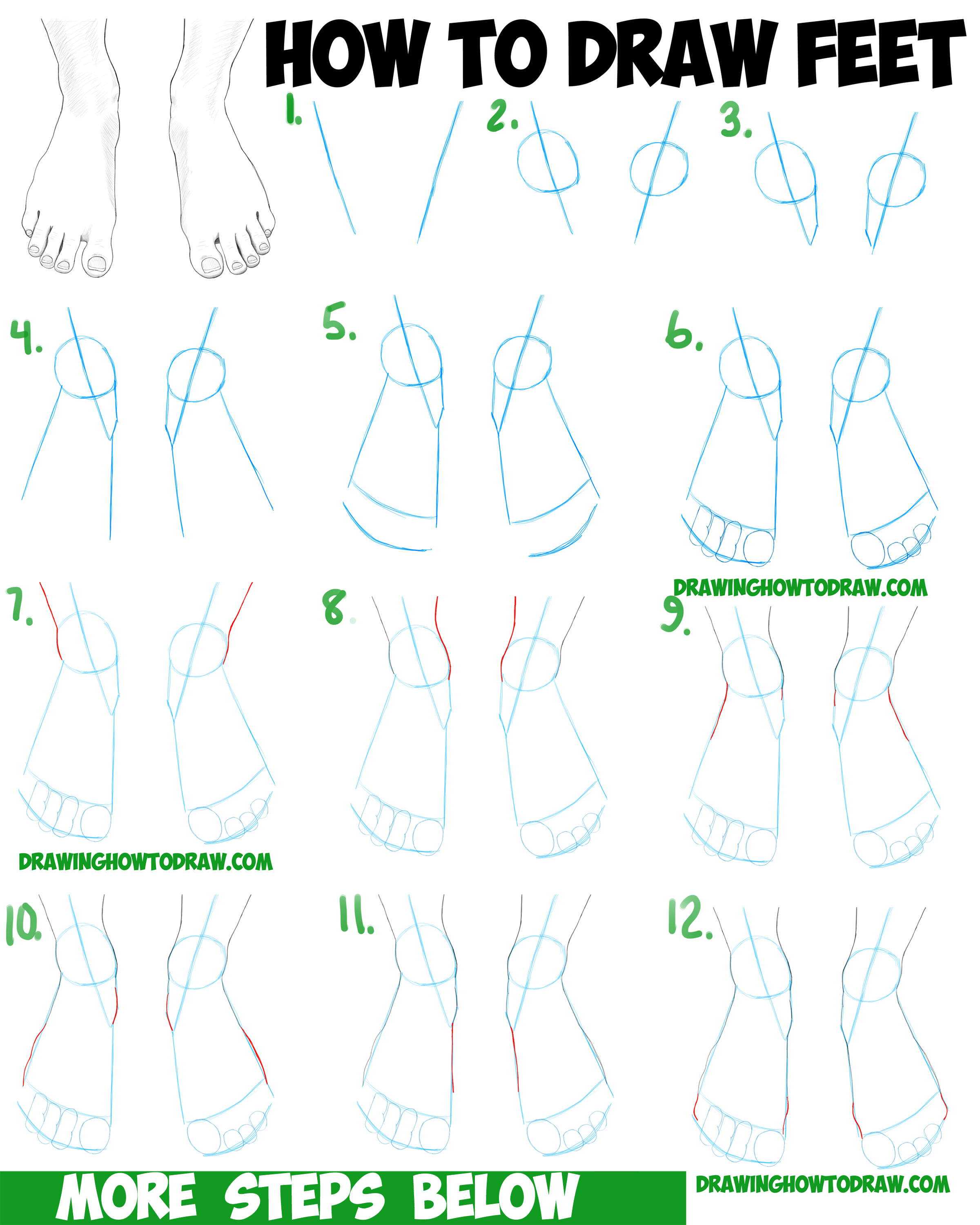 How to draw feet the human foot with easy step by step for Drawing ideas for beginners step by step