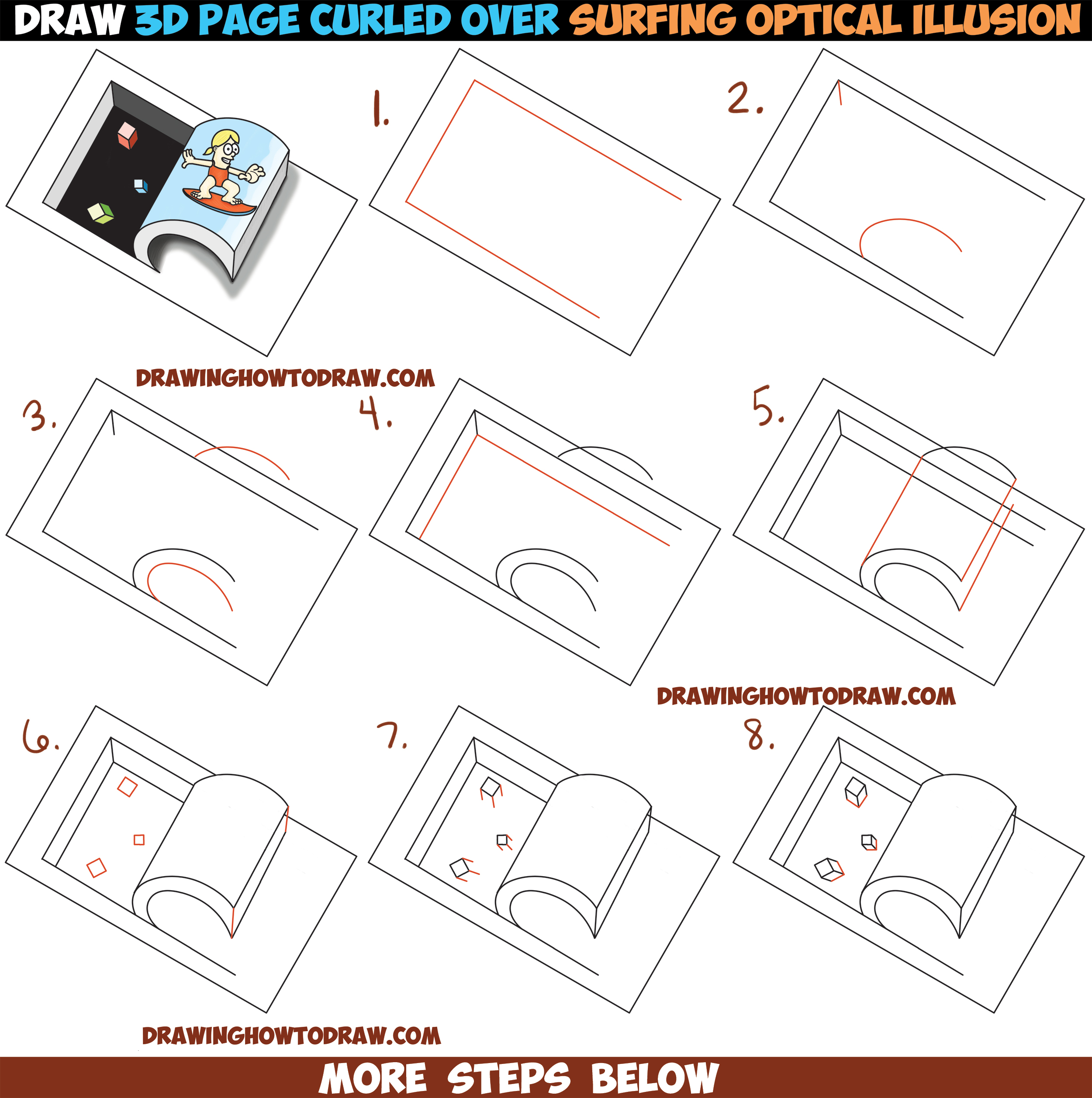 How to Draw Paper Being Curled Up Like a Wave with Cartoon Girl Surfing : Cool Optical Illusion Easy Step by Step Drawing Tutorial for Kids