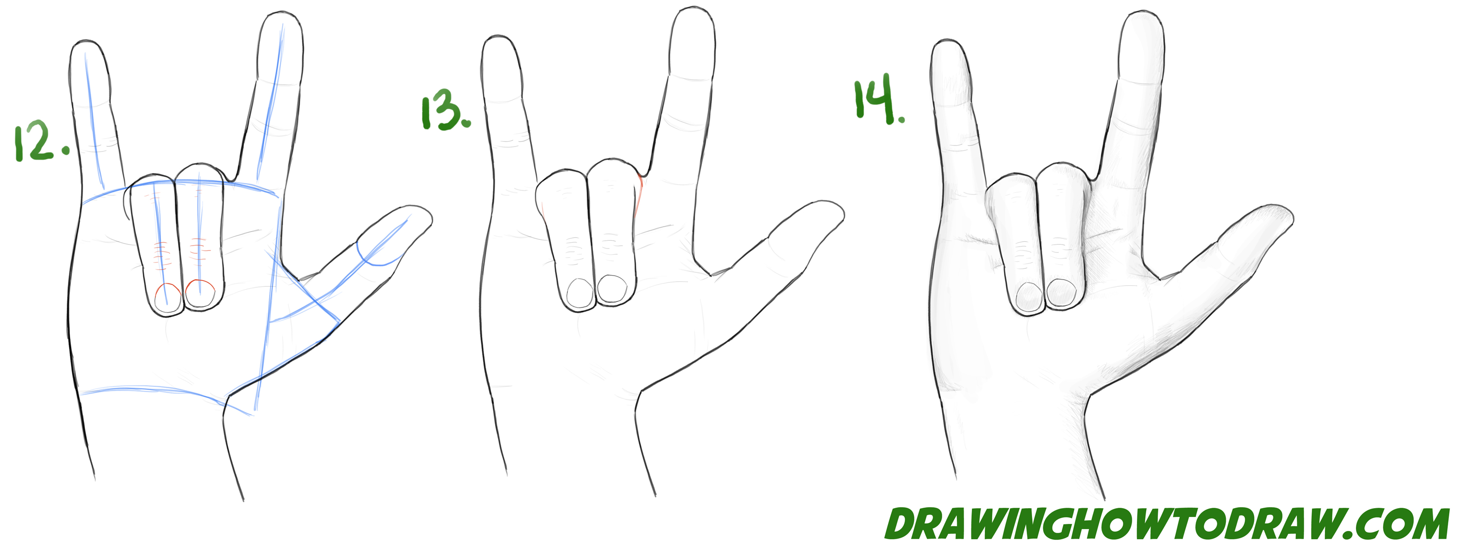 Learn How to Draw Love Hands - Sign Language for Love - Simple Steps Drawing Lesson for Beginners