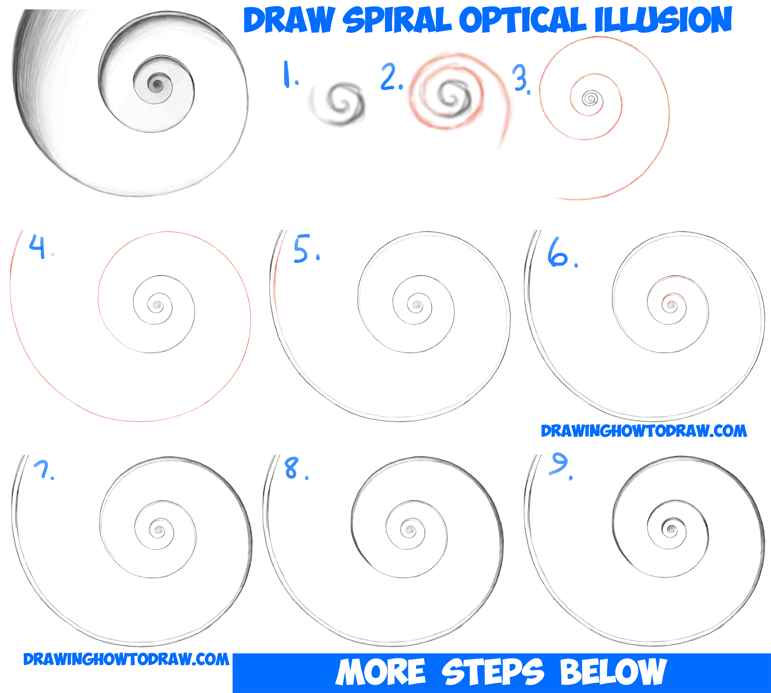 How to Draw Spiral Going Down Optical Illusion Easy Step by Step Drawing Tutorial for Beginners