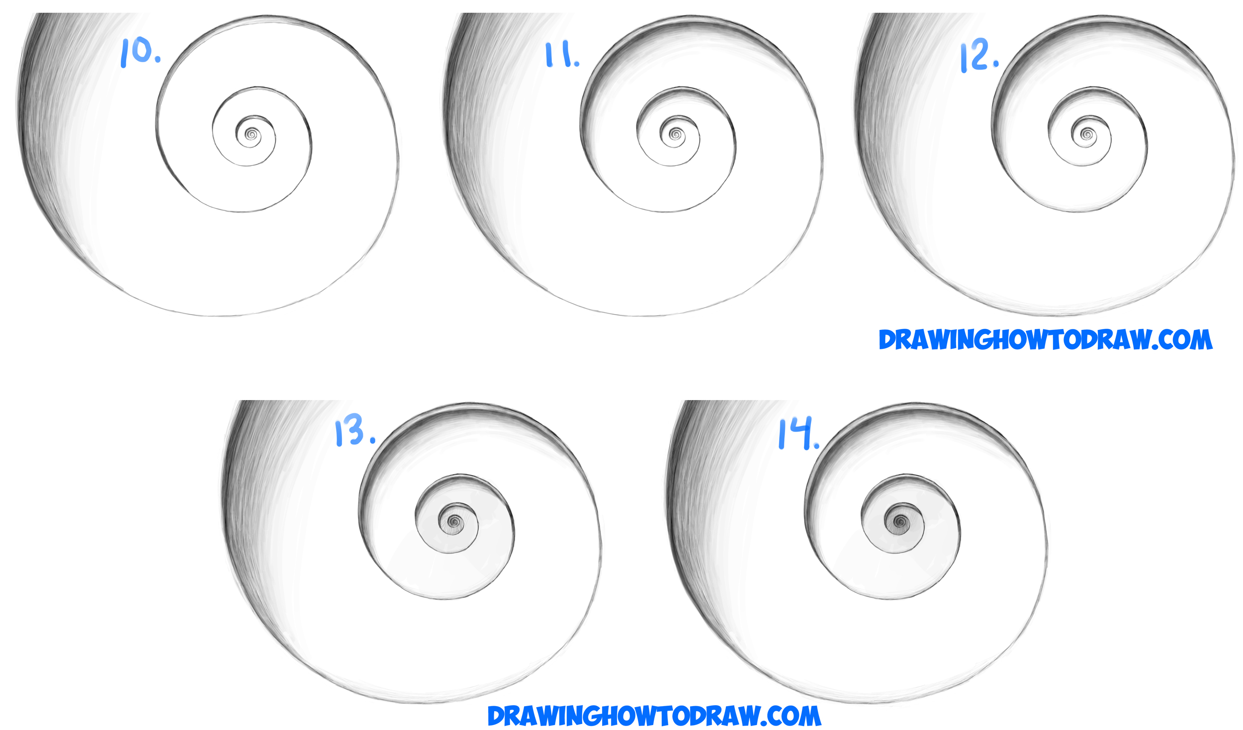 Learn How to Draw Cool Stuff : Spiral Going Down Optical Illusion Simple Steps Drawing Lesson for Beginners