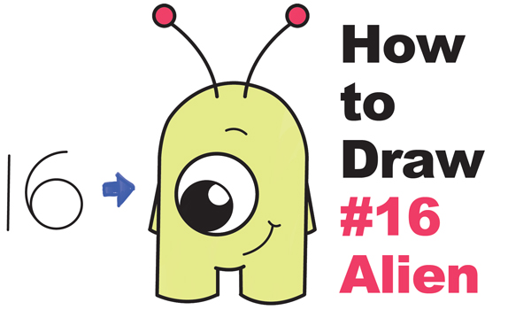 "How to Draw Cute Cartoon Alien from Numbers ""16"" Easy Step by Step Drawing Tutorial for Kids"