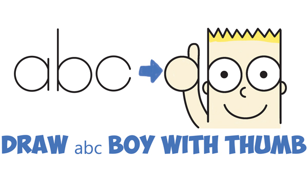 How To Draw Cute Cartoon Boy Kid With Thumb Up From Abc Easy Step By Drawing Tutorial For Kids