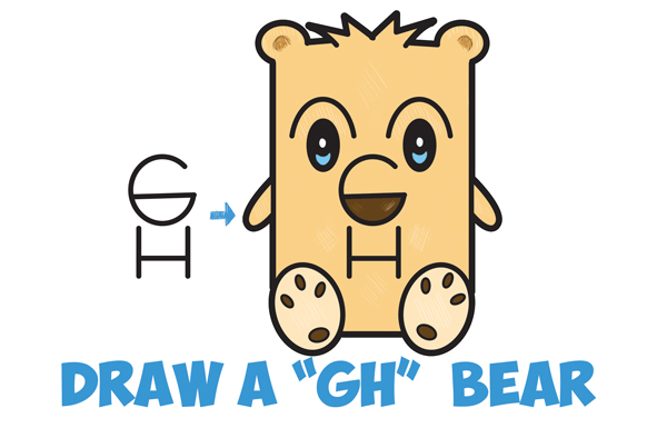 "How to Draw a Cartoon Bear from Letters ""GH"" Easy Step by Step Drawing Tutorial for Kids and Beginners"