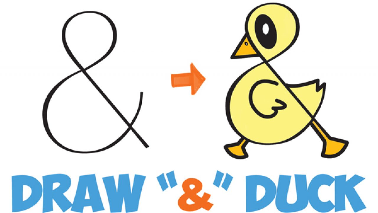 How To Draw A Cute Cartoon Duck From Ampersand Symbol Easy Step By