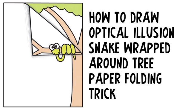 How to Draw Cartoon Snake Wrapped Around a Tree Branch - 3D Optical Illusion with Paper Folded Over Easy Step by Step Drawing Tutorial for Kids