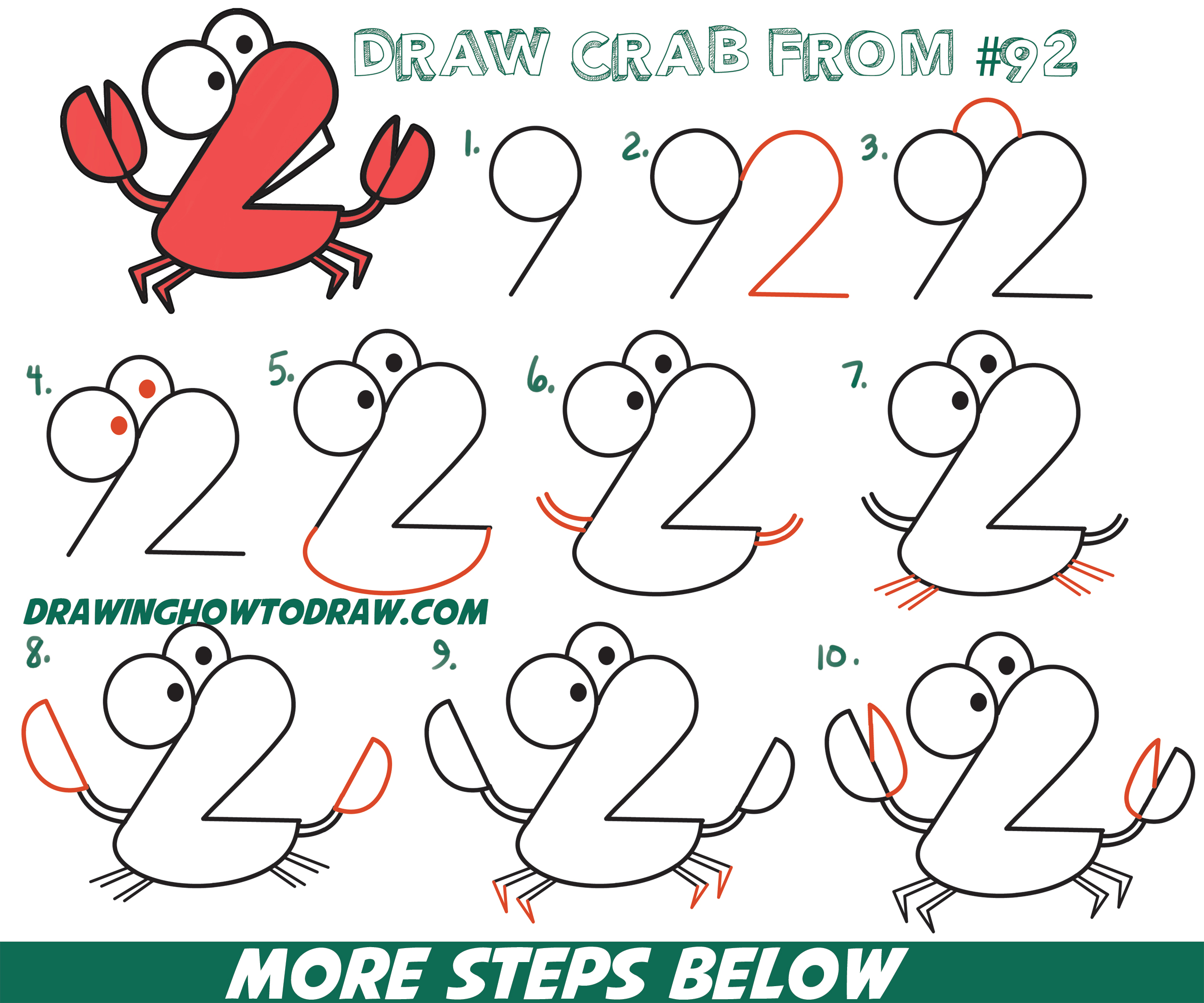 "How to Draw Cartoon Crab from Numbers ""92"" Easy Step by Step Drawing Tutorial for Kids"
