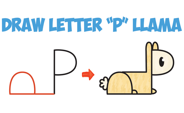 How to draw cute cartoon kawaii llama or alpaca from p letters easy step by step drawing tutorial for kids