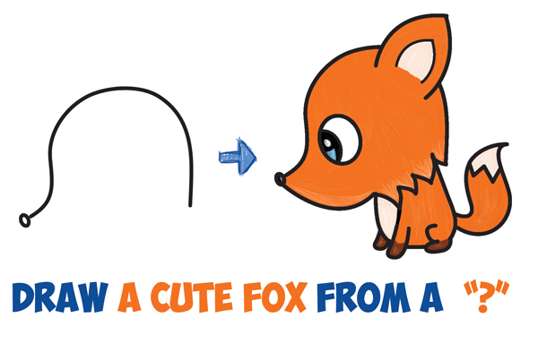 How To Draw A Cute Cartoon Fox From A Question Mark Kawaii Chibi
