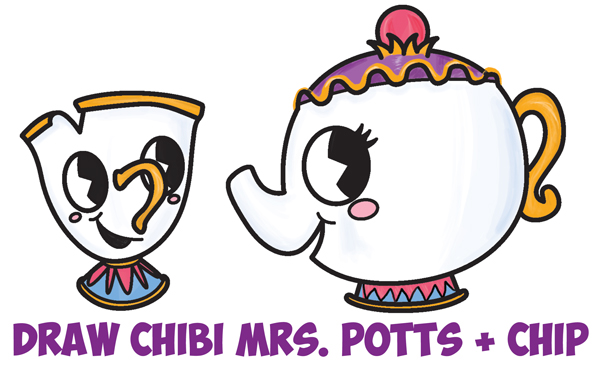 How to Draw a Cute Chip and Mrs. Potts