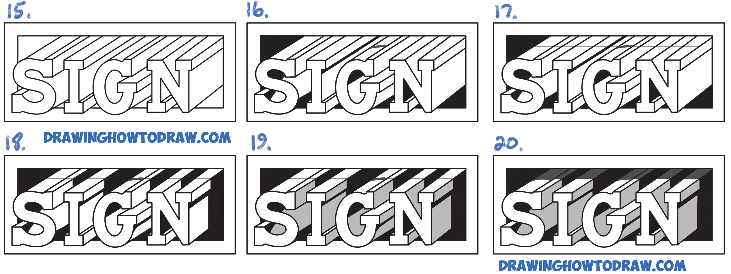 Learn How to Draw Cool 3D Letters Popping Out of the Paper Simple Steps Drawing Lesson for Beginners