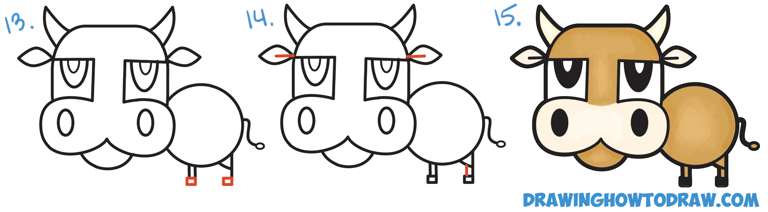 Learn How to Draw a Cartoon Bull / Cow from Numbers & Letters Simple Steps Drawing Lesson for Children & Beginners
