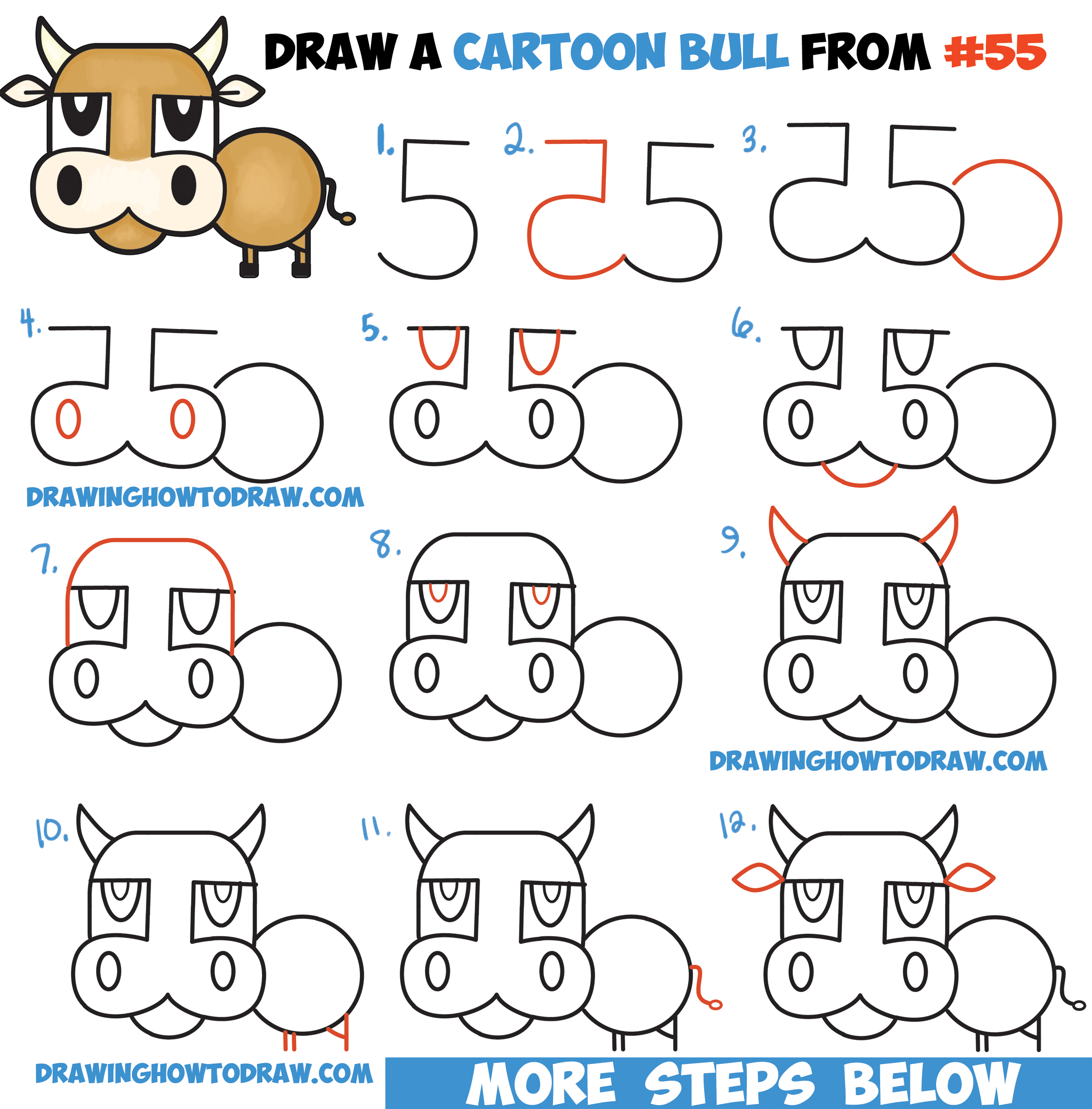 how to draw a cartoon bull cow from numbers letters easy step by step