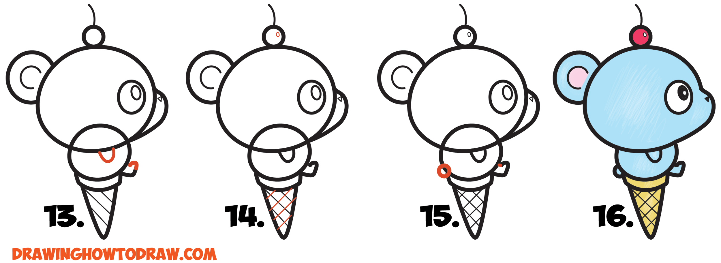 Learn How to Draw Super Cute Cartoon/Kawaii Bear on Ice Cream Cone Simple Steps Drawing Lesson for Children & Beginners