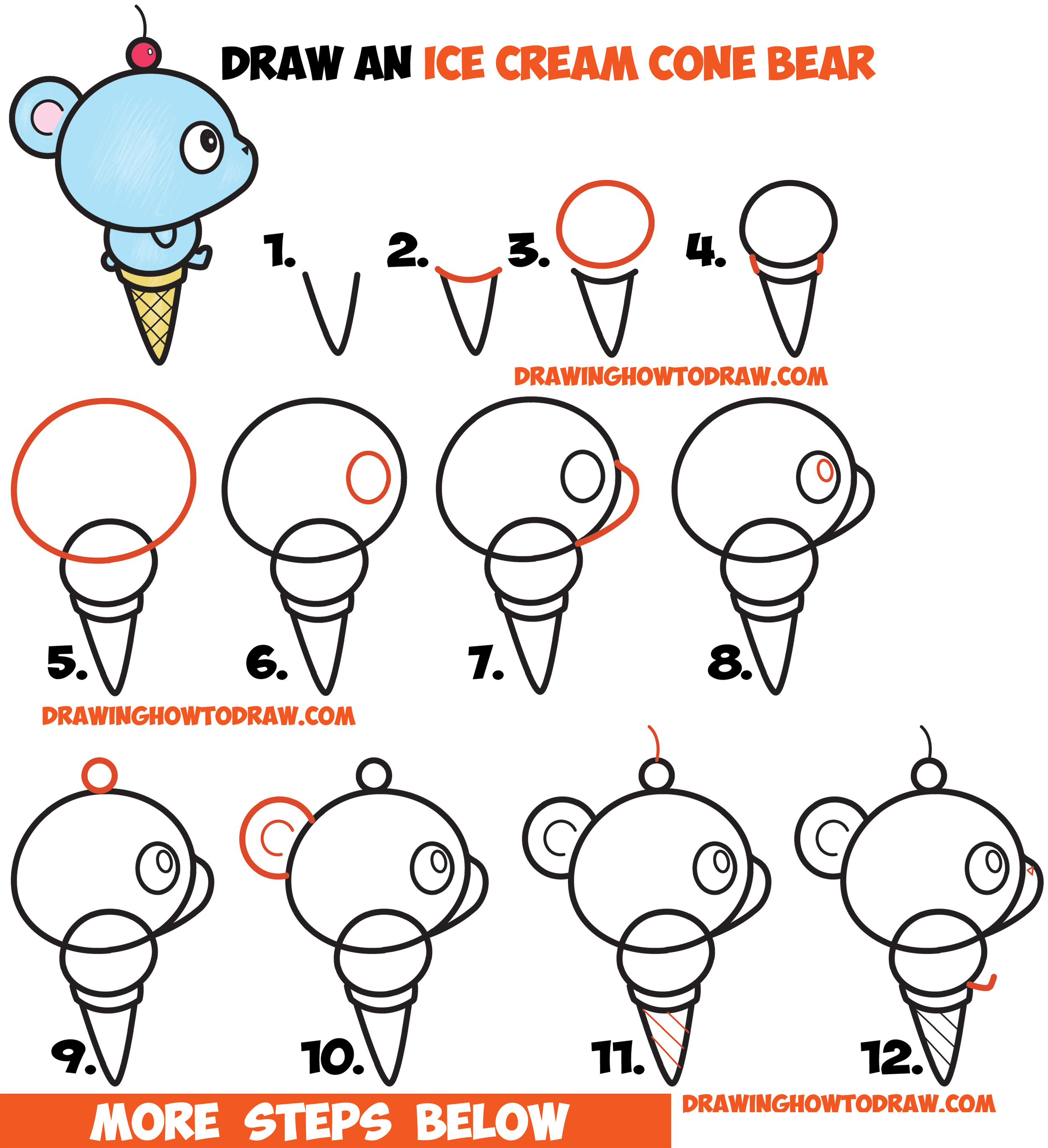 how to draw super cute cartoon kawaii bear on ice cream