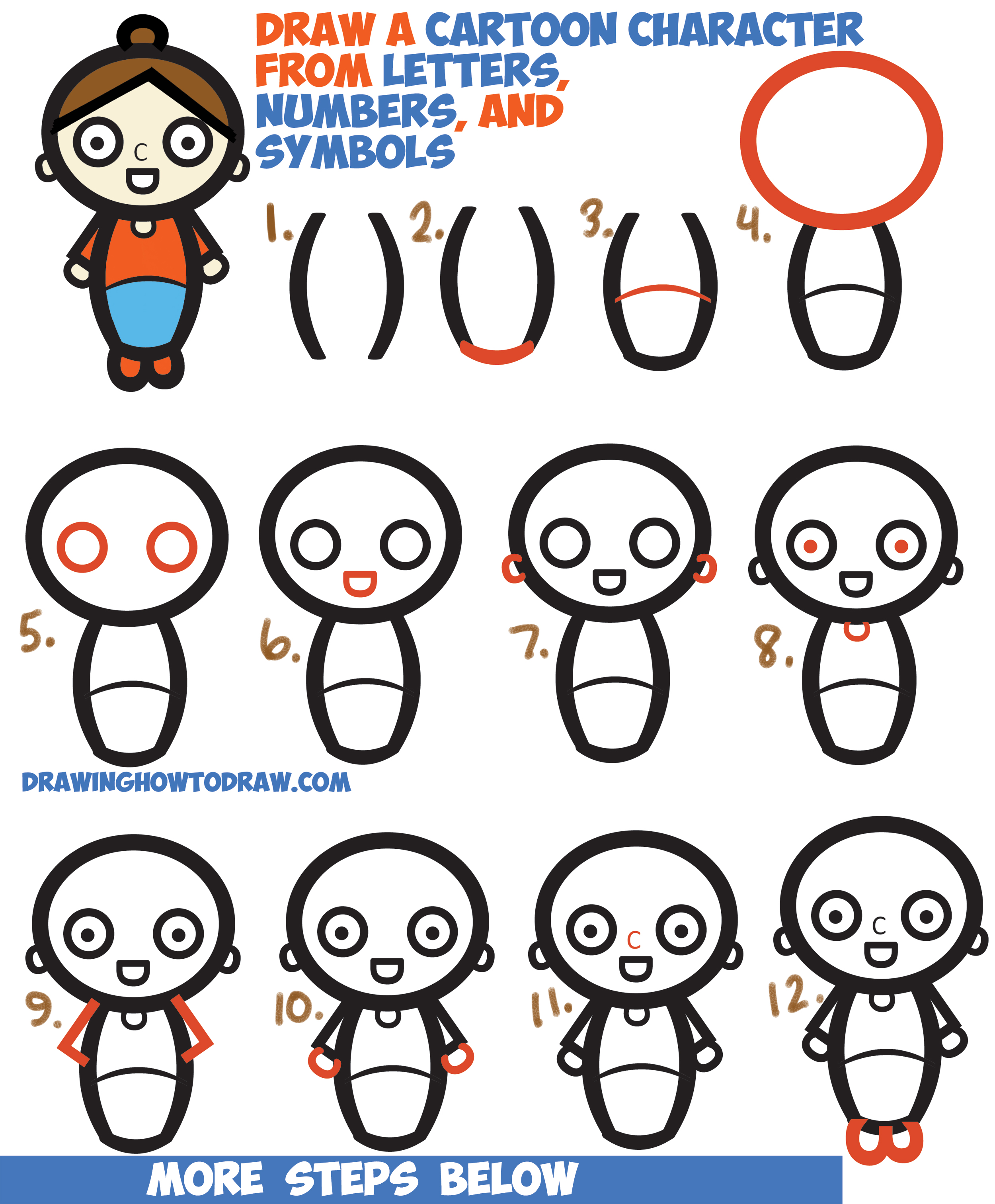 How To Draw A Cartoon Woman Character From Letters Numbers Symbols