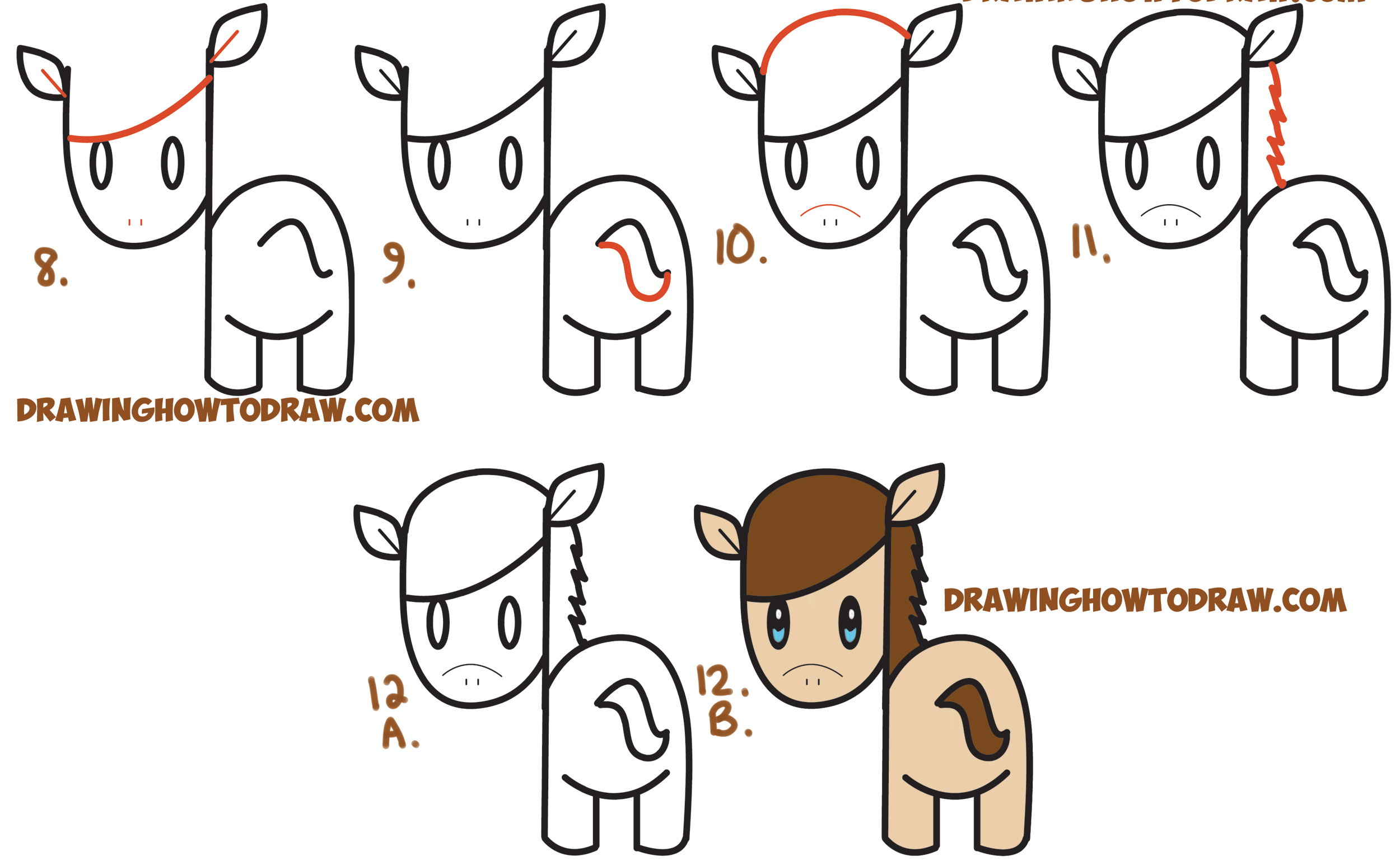 How to draw a easy cartoon horse step by cartoon for Learn to draw cartoons step by step lessons