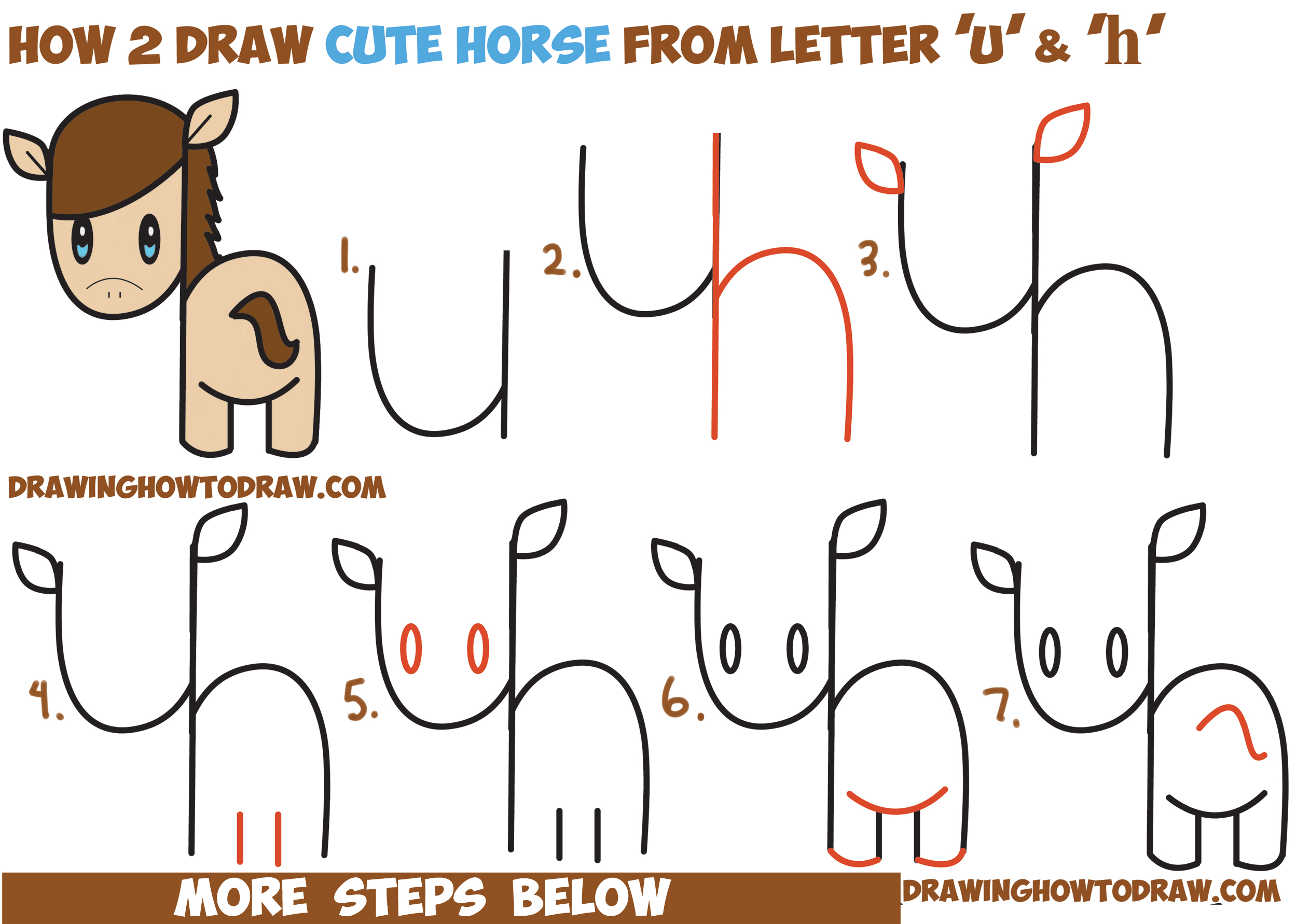 How to Draw a Cute Kawaii / Chibi Horse from Letters and ...