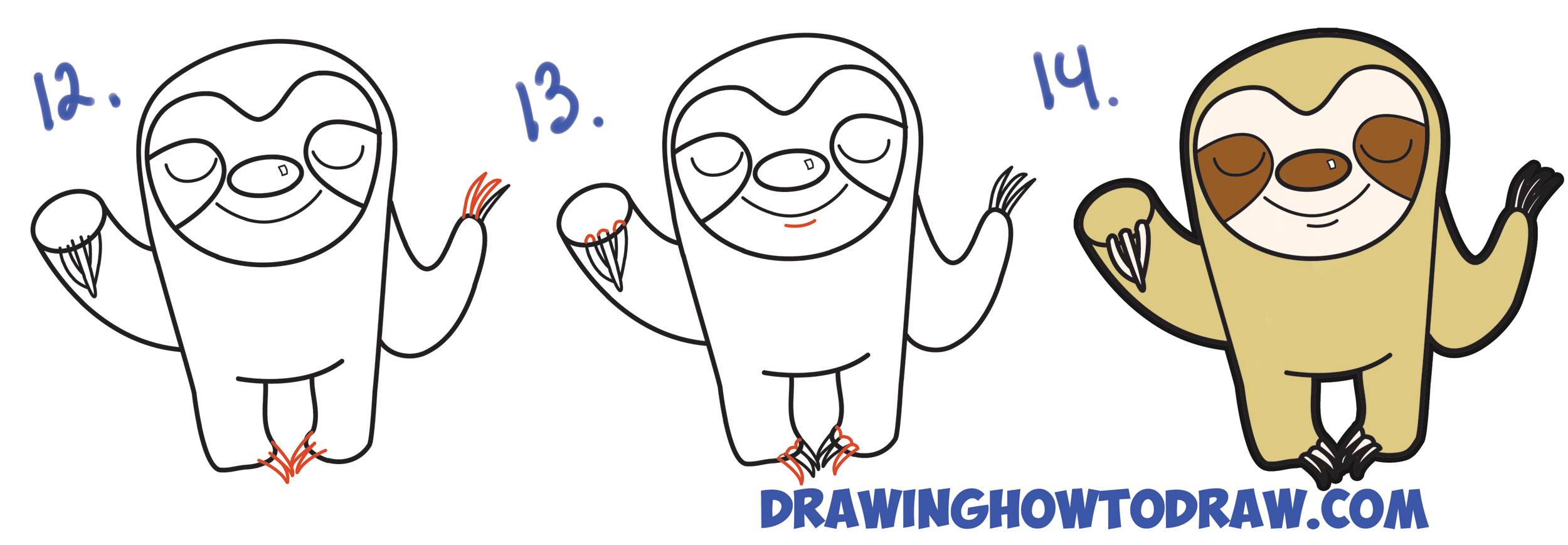 Learn How to Draw Cute Cartoon Sloth with Simple Steps Drawing Lesson for Children and Beginners