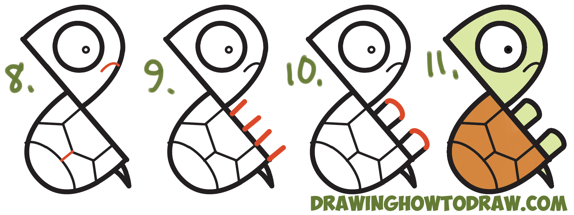 "Learn How to Draw a Cute Cartoon Turtle from Letter ""P"" Shapes Simple Steps Drawing Lesson for Children & Beginners"