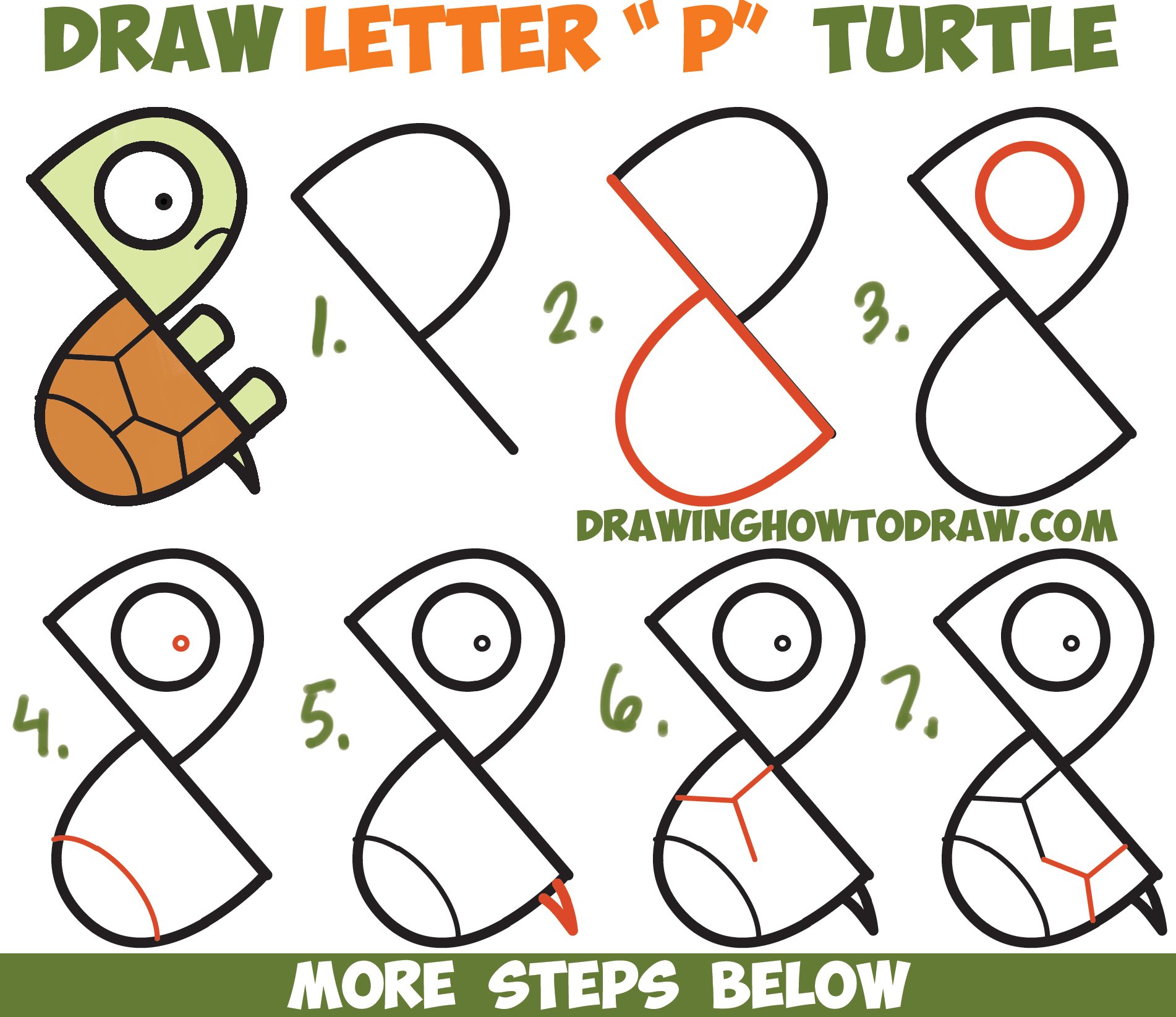 How to draw a cute cartoon turtle from letter p shapes for How to make cartoon drawings step by step