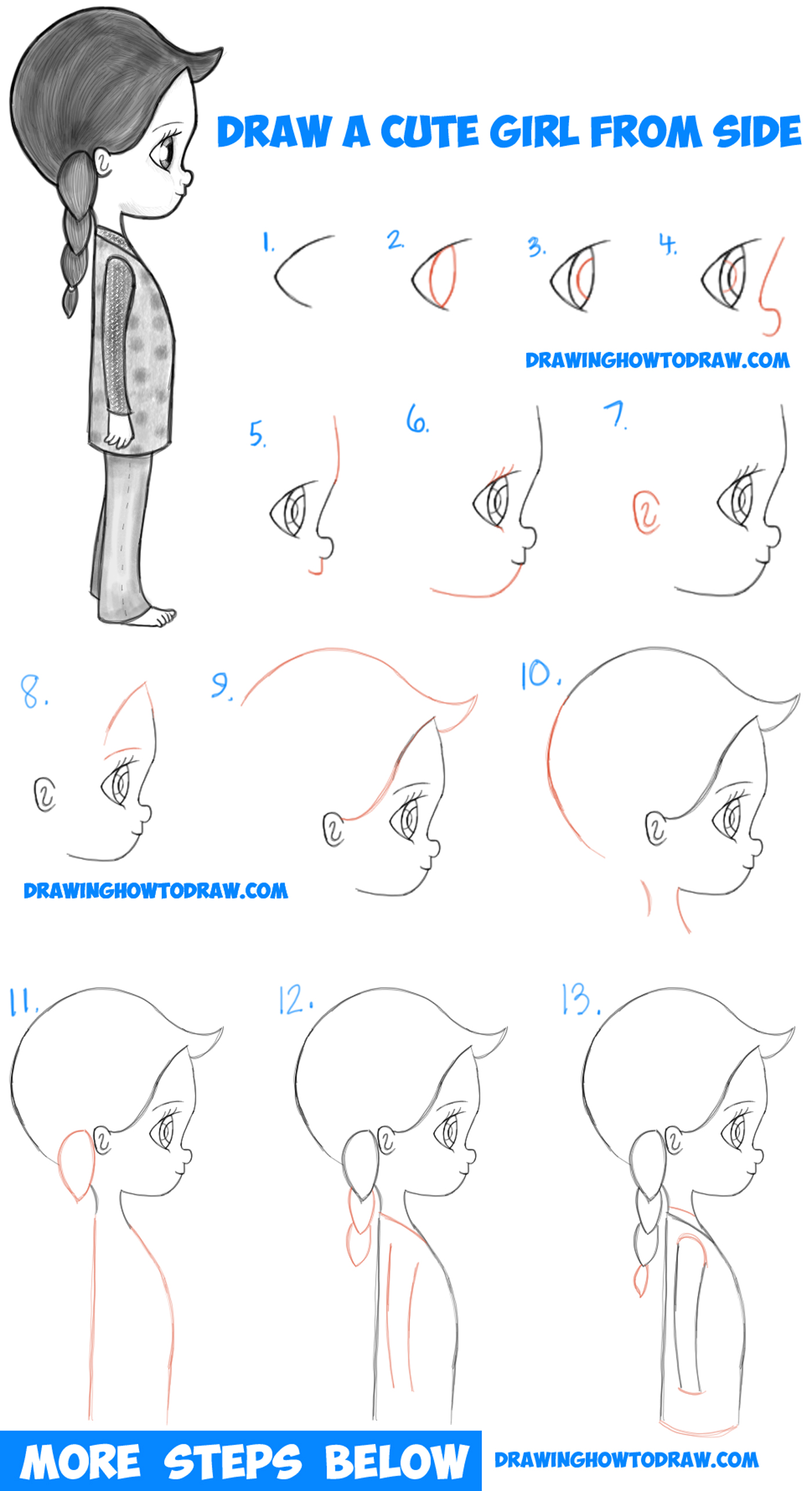 How to Draw a Cute Chibi / Manga / Anime Girl from the ...