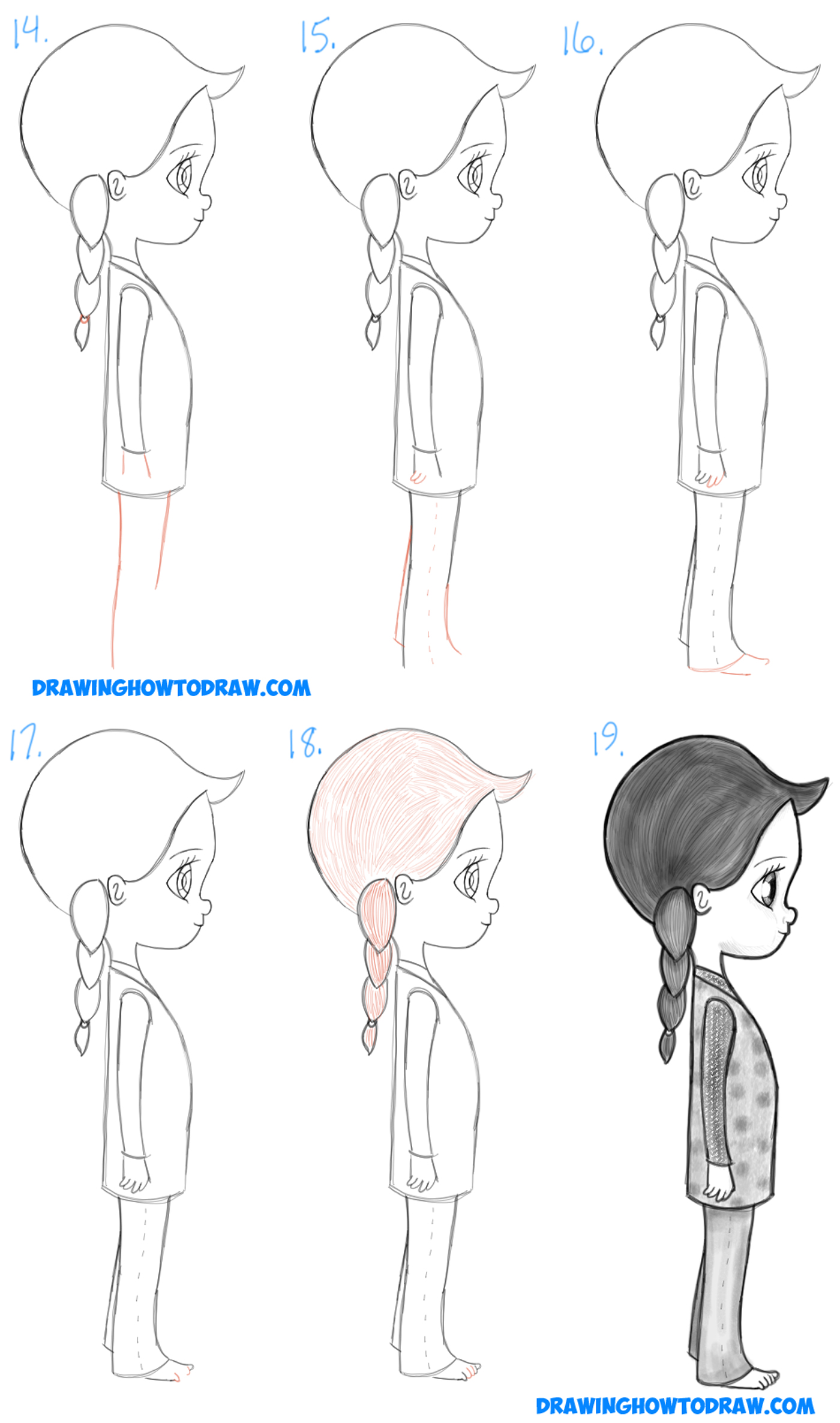 How to draw a cute chibi manga anime girl from the for Steps to draw a girl