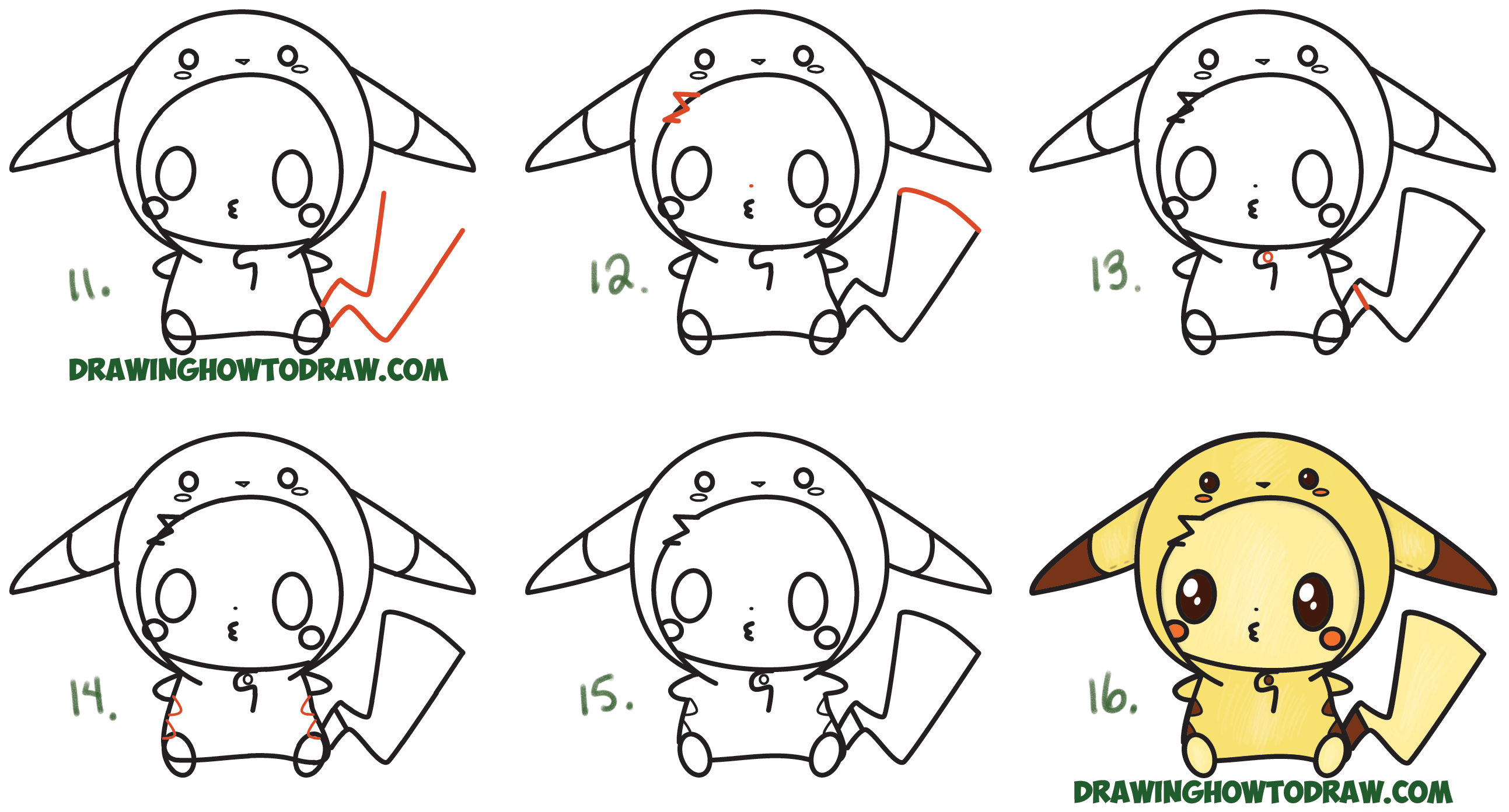 Learn How to Draw Cute Pikachu with Costume Hood from Pokemon (Kawaii / Chibi Style) Simple Steps Drawing Lesson for Children