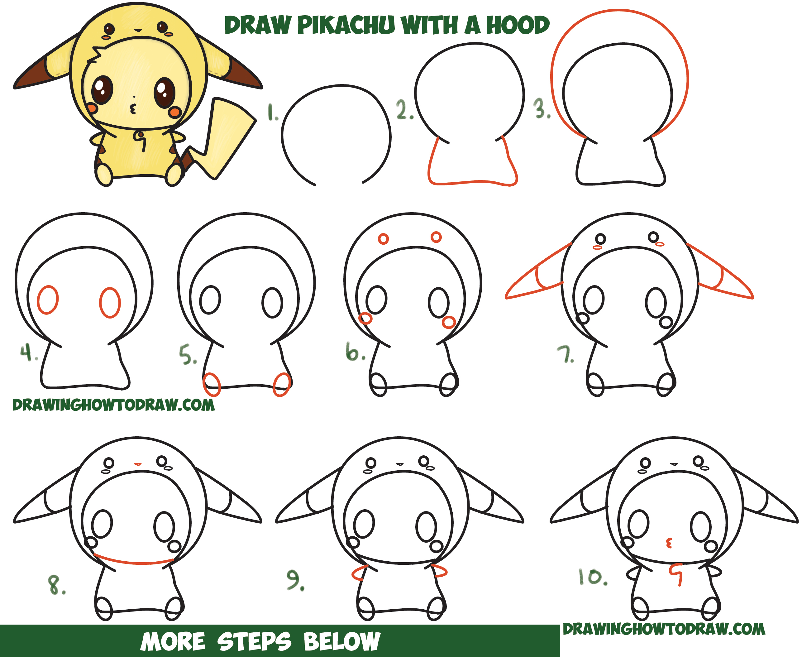 How to Draw Cute Pikachu with Costume Hood from Pokemon (Kawaii / Chibi Style) Easy Step by Step Drawing Tutorial for Kids and Beginners