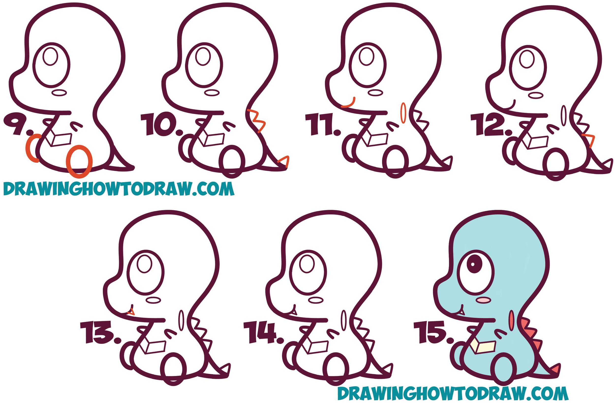 Learn How to Draw Cute / Chibi / Kawaii Totodile from Pokemon with Simple Steps Drawing Lesson for Children