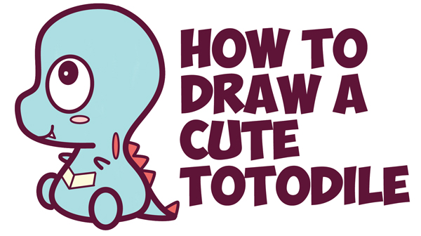 How to Draw Cute / Chibi / Kawaii Totodile from Pokemon with Easy Step by Step Drawing Tutorial for Kids / Beginners