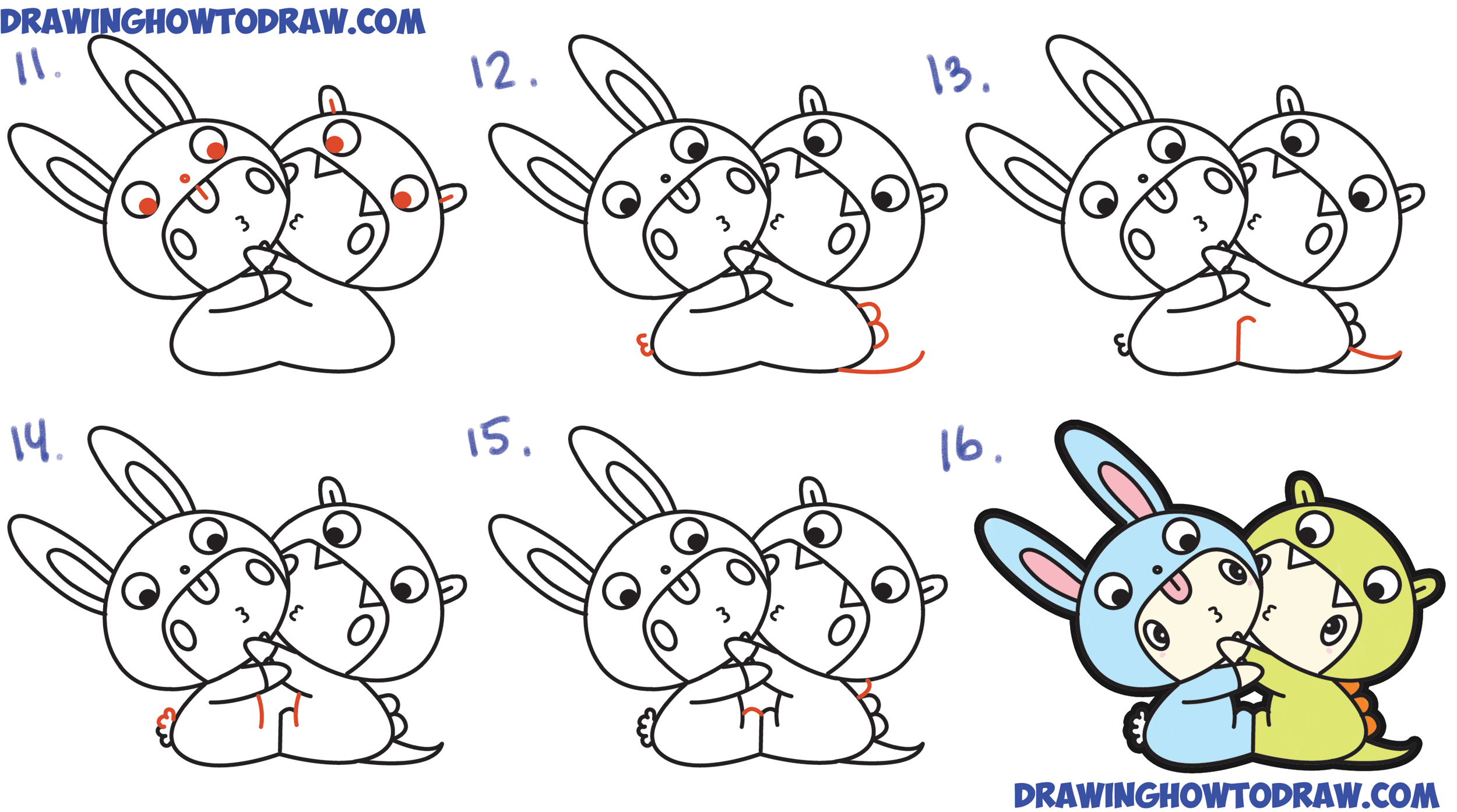 Easy Steps By Alfred Aho Chibi Kids Dressed Up In Costumes With Hoods  ( How To Draw A Cute Cartoon Bunny