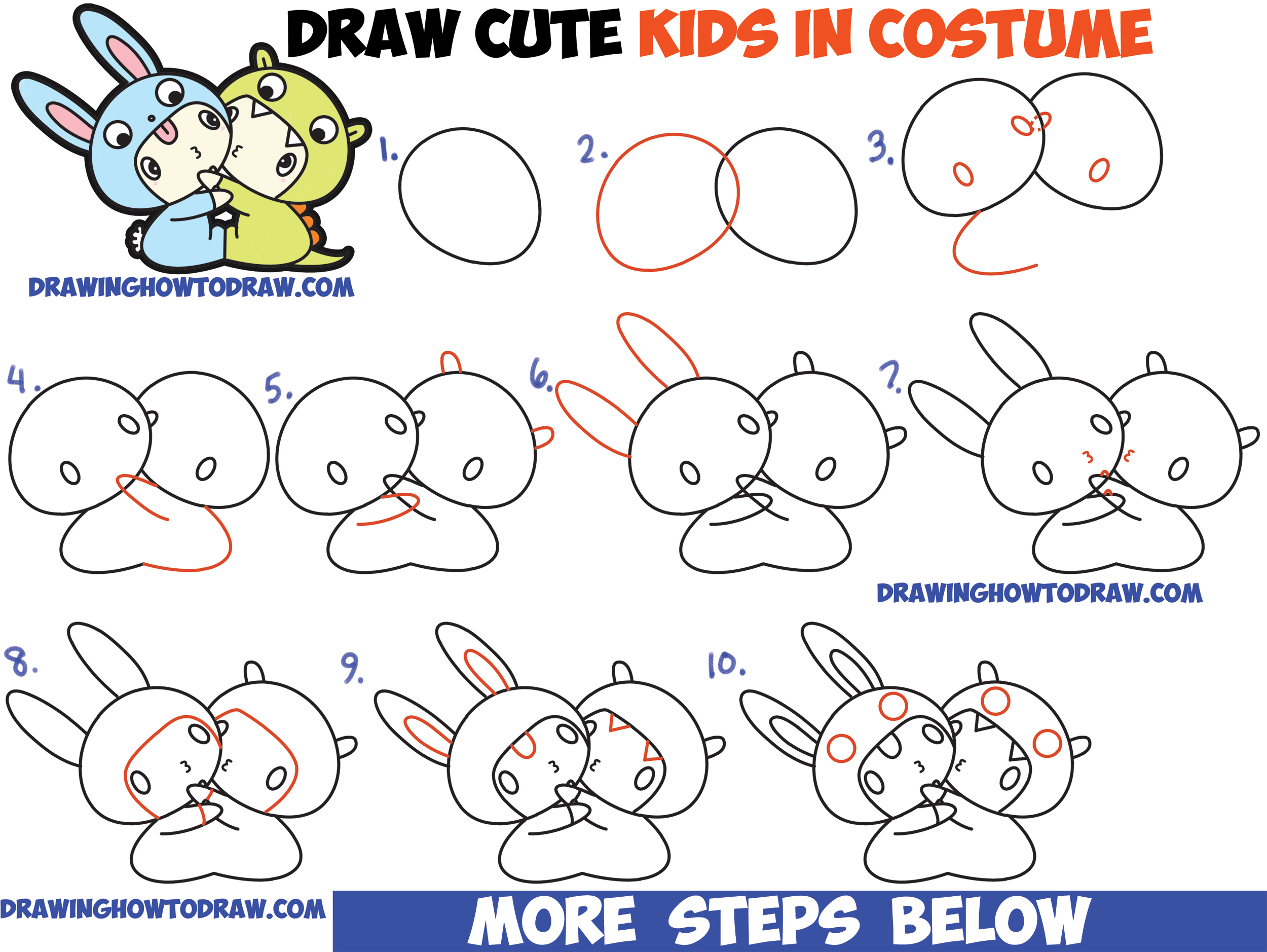 Chibi Kids Dressed Up In Costumes With Hoods Dragon Chibi Kids Dressed Up  In Costumes With Lion How To Draw A Lion Easy Step