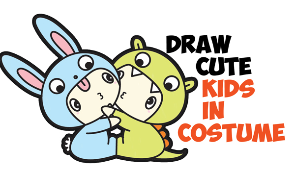 How to Draw Cute Kawaii / Chibi Kids Dressed Up in Costumes with Hoods (Dragon & Bunny Outfits) Easy Step by Step Drawing Tutorial for Beginners